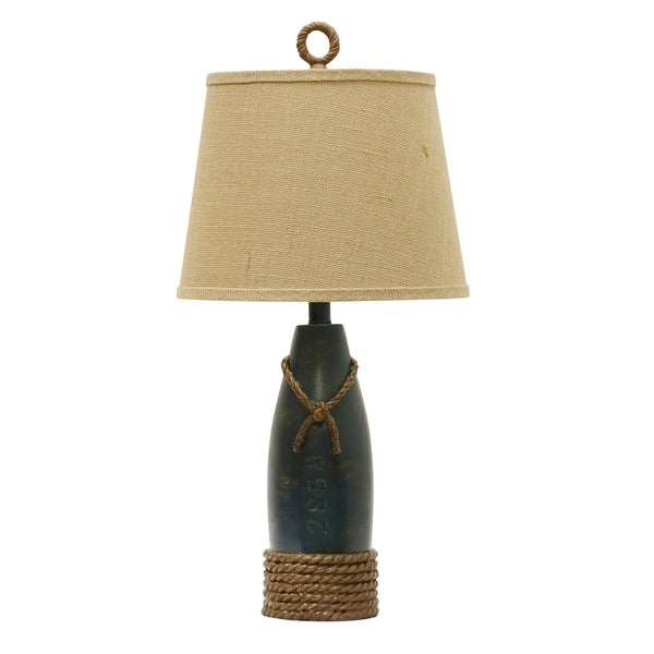 Sea Blue Table Lamp - Cream Hardback Canvas Shade