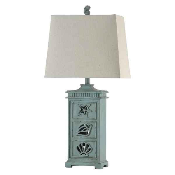 River Crest Light Blue Table Lamp - Taupe Hardback Fabric Shade