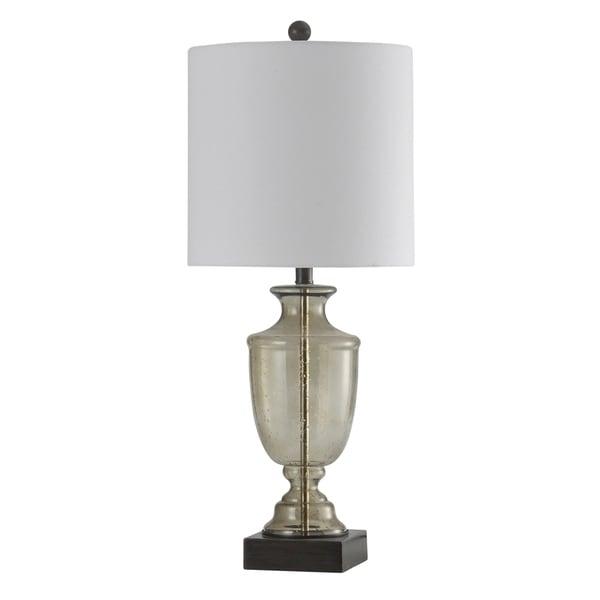 Smoke Seeded Glass Table Lamp - White Hardback Fabric Shade