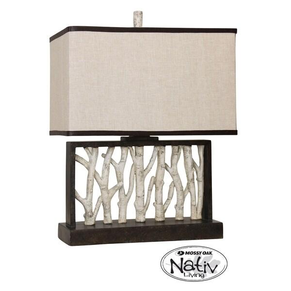 Livingston Black and White Table Lamp - Beige Hardback Fabric Shade