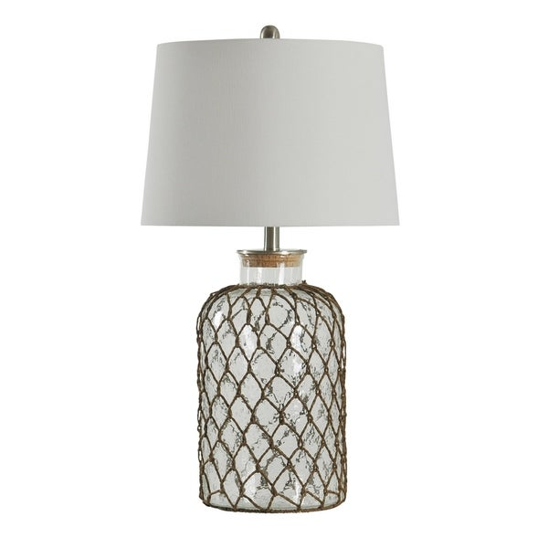 Seeded Glass Table Lamp - Off-white Hardback Fabric Shade
