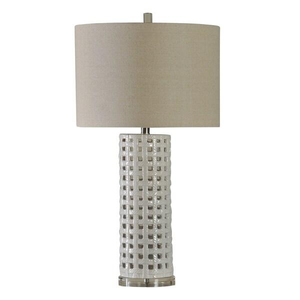 Luxemburg White Glaze Ceramic Table Lamp - Beige Hardback Fabric Shade