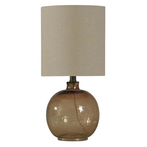 Amber Mist Table Lamp - White Hardback Fabric Shade