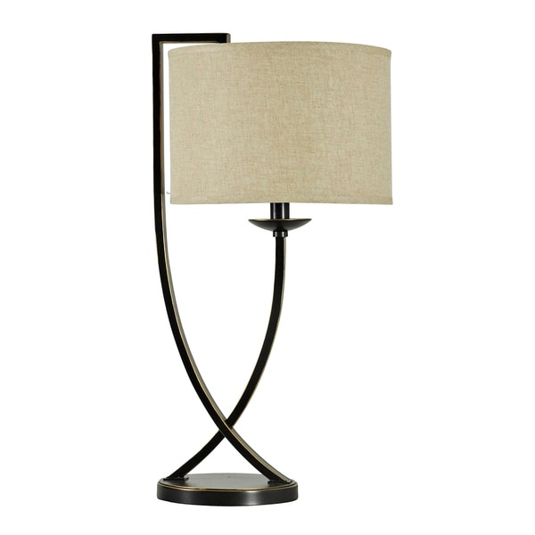 Madison Bronze Table Lamp - Beige Hardback Fabric Shade