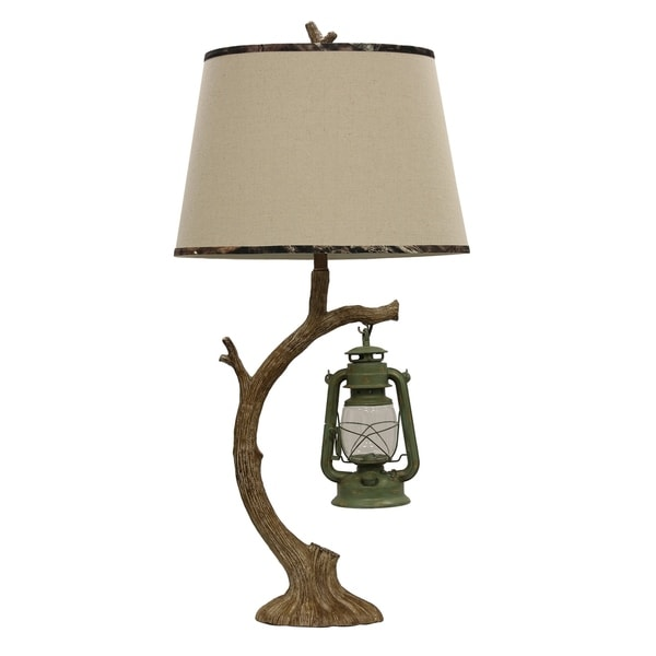 StyleCraft Mossy Oak - Tellico Plains Brown and Green Table Lamp - Beige Hardback Fabric Shade