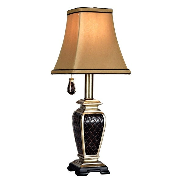 Brompton Black And Gold Accent Table Lamp - Gold Fabric Shade