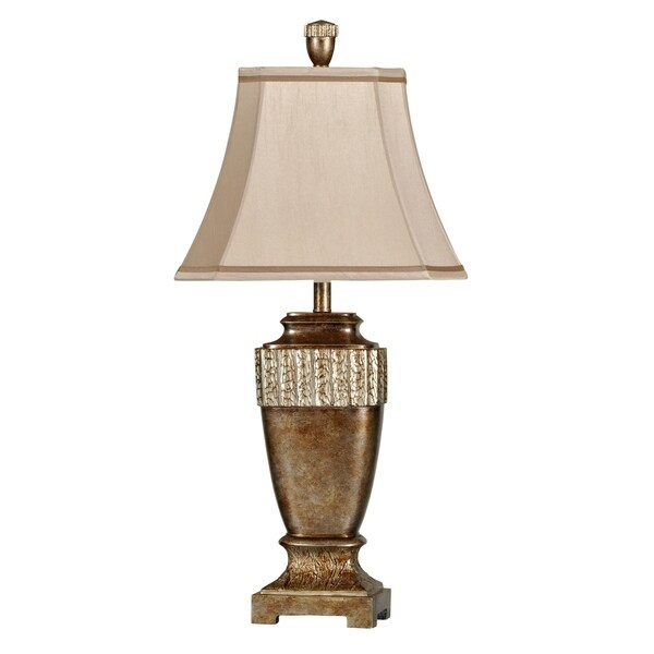 Conway Brown Glaze With Silver Leaf Table Lamp - Beige Fabric Shade