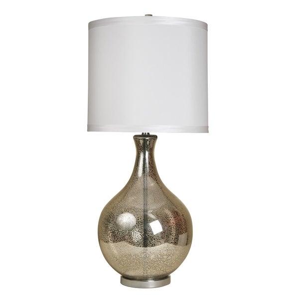 Northbay Mercury Glass Table Lamp - White Hardback Fabric Shade
