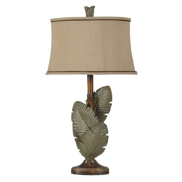Islamadora Wentworth Bronze and Gray Table Lamp - Beige Softback Fabric Shade