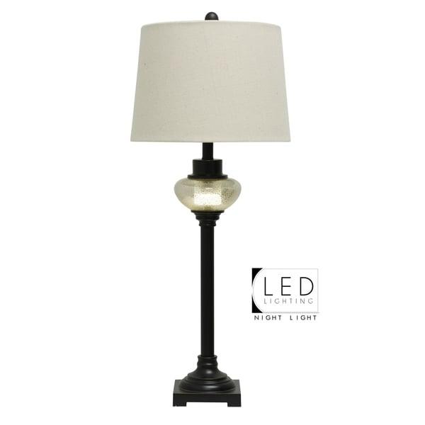Madison Bronze Table Lamp - White Hardback Fabric Shade