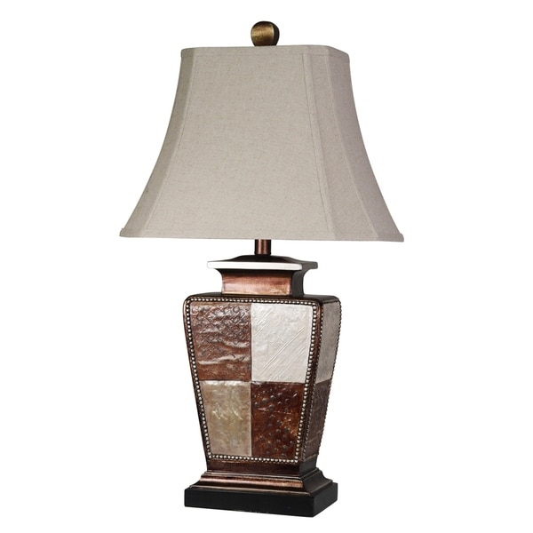 StyleCraft Austin Bronze, Cream, Gold Leaf Table Lamp - Taupe Fabric Shade