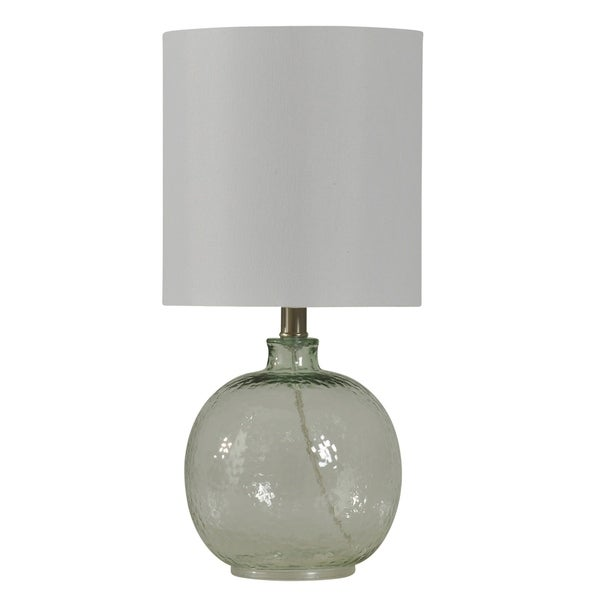 StyleCraft Clear Table Lamp - White Hardback Fabric Shade