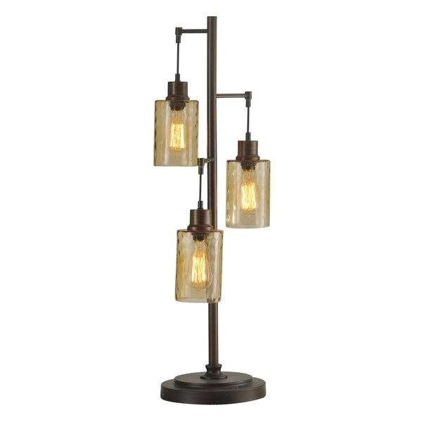 Bronze Table Lamp   Clear Dimpled Glass Shade