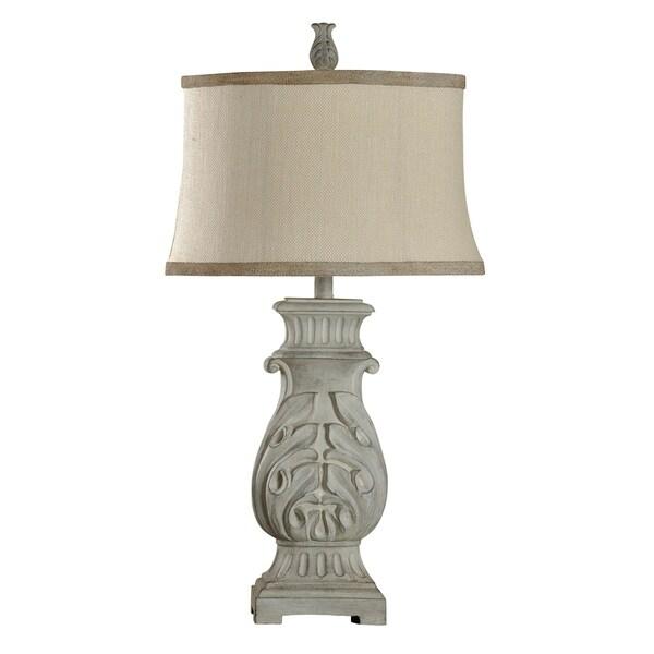 StyleCraft Bokava Off-white Finish Table Lamp - Beige Softback Fabric Shade