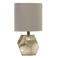 StyleCraft Mercury Glass Table Lamp - White Hardback Fabric Shade