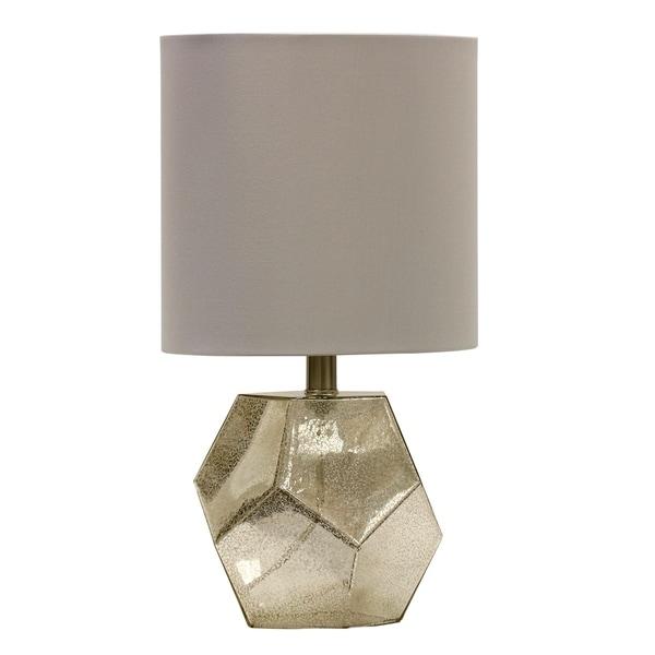 Mercury Glass Table Lamp - White Hardback Fabric Shade