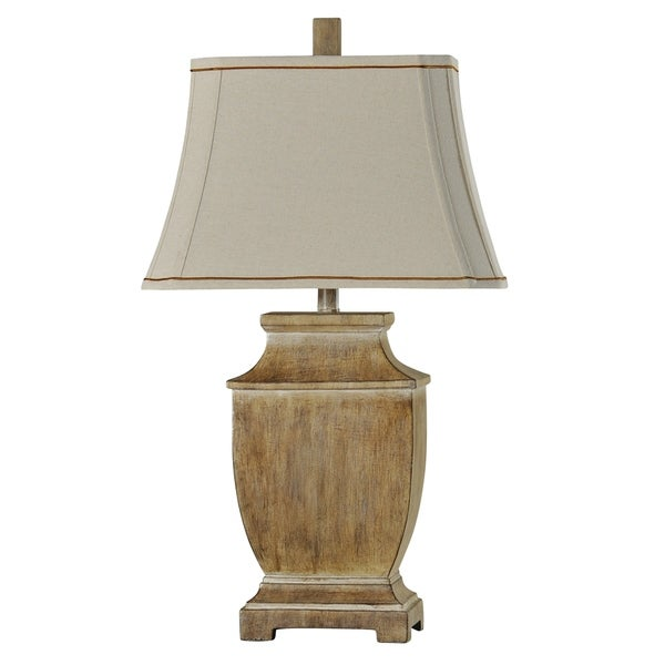 StyleCraft Gambell Natural Wood Table Lamp - Beige Softback Fabric Shade