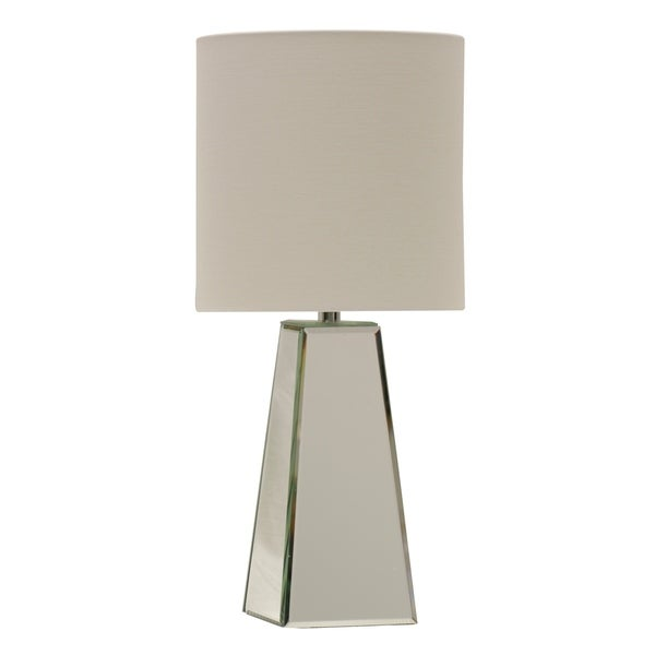 Silver Table Lamp - White Hardback Fabric Shade