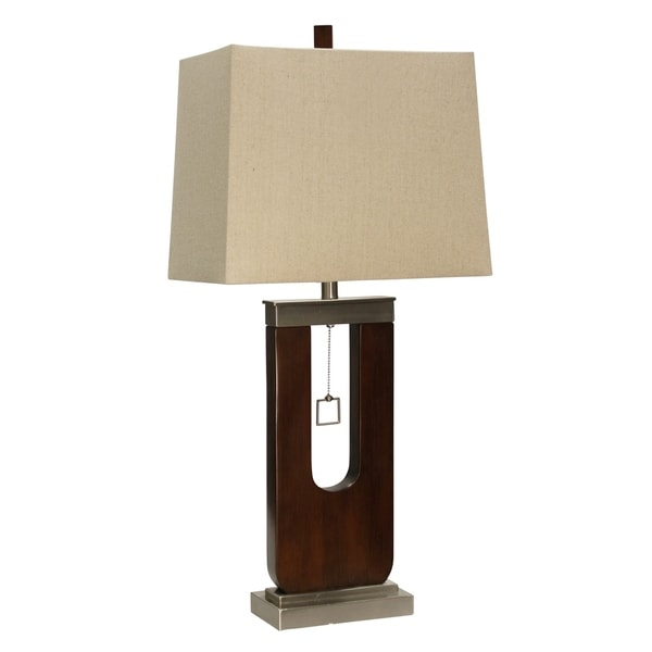 Burlingham Stained Wood And Stainless Table Lamp - Beige Hardback Fabric Shade