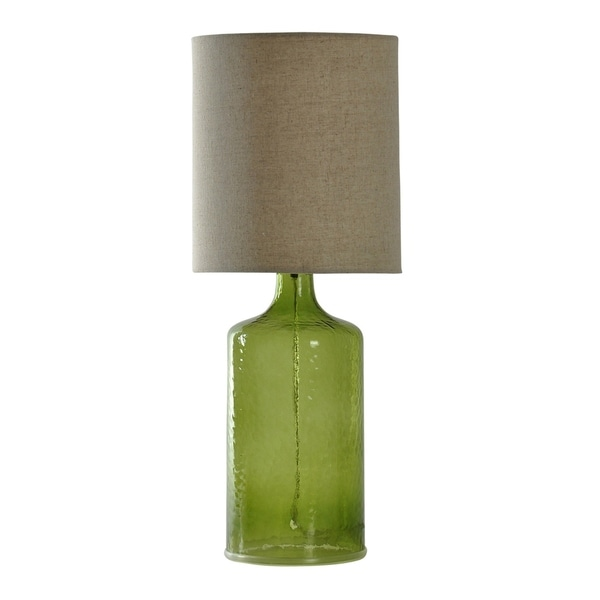 StyleCraft Meadow Green Table Lamp - Taupe Hardback Fabric Shade