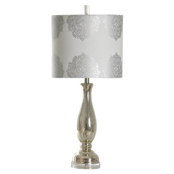Northbay Mercury Glass Table Lamp - Silver Designer Print Hardback Fabric Shade