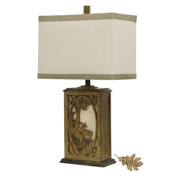 Mossy Oak - Wensel Brown Table Lamp - Beige Hardback Fabric Shade