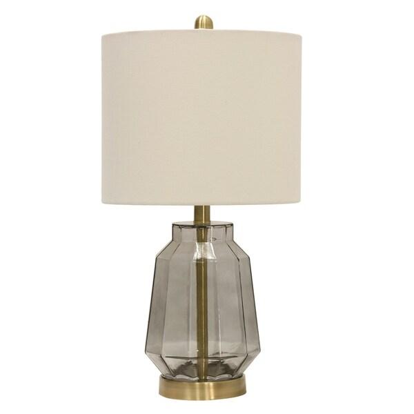 Grey Table Lamp - White Fabric Shade