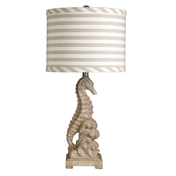 StyleCraft Sand Table Lamp - White And Tan Striped Pattern Hardback Fabric Shade