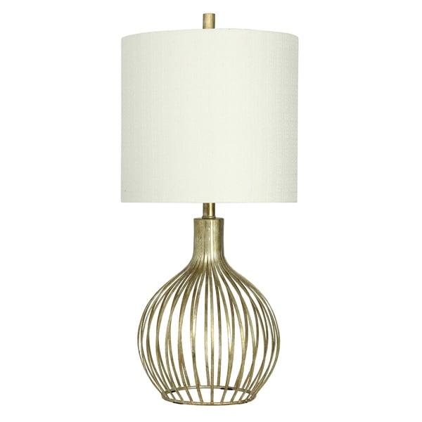 Vintage Gold Table Lamp - White Hardback Fabric Shade