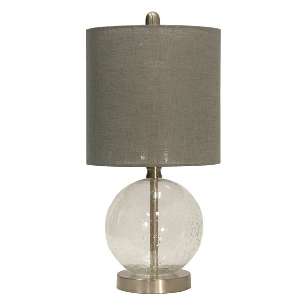 Seeded Glass Table Lamp - Gray Hardback Fabric Shade