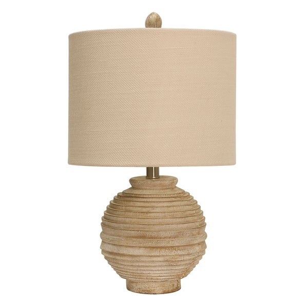 StyleCraft Distressed White Table Lamp - White Hardback Fabric Shade