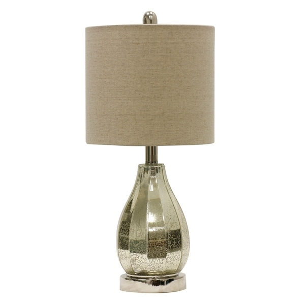 Ivory Mercury Table Lamp - Taupe Hardback Fabric Shade