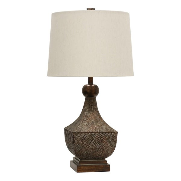 StyleCraft Brown Table Lamp - White Hardback Fabric Shade