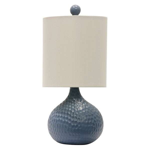 Blue Ceramic Table Lamp - White Hardback Fabric Shade