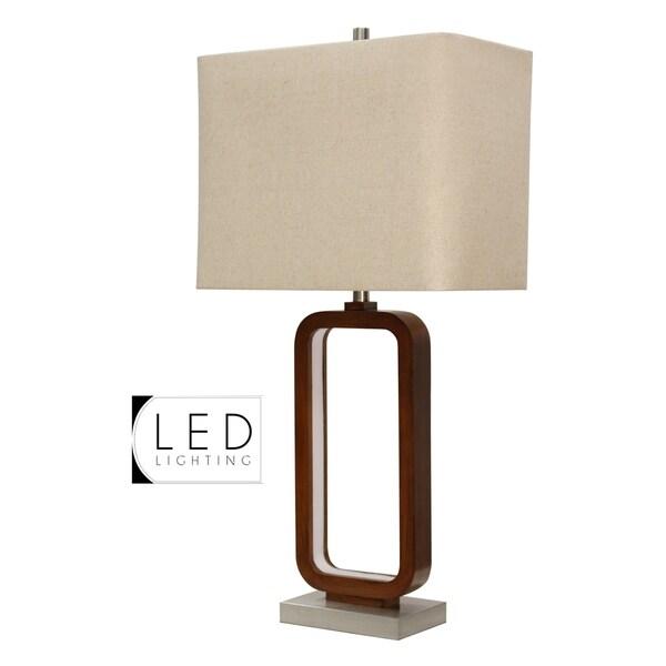 StyleCraft Wellwood Rust Table Lamp - Beige Hardback Fabric Shade