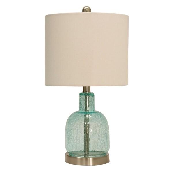 StyleCraft Blue/ Green Translucent Table Lamp - White Hardback Fabric Shade