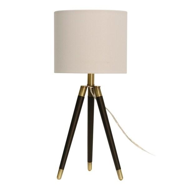 StyleCraft Brown Table Lamp - White Hardback Fabric Shade