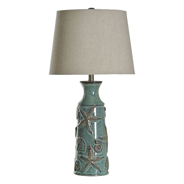 StyleCraft Blue Bay Ceramic Table Lamp - Beige Hardback Fabric Shade