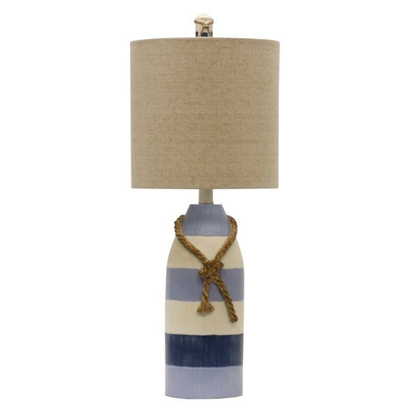 StyleCraft Blue Stripe Table Lamp - White Hardback Fabric Shade