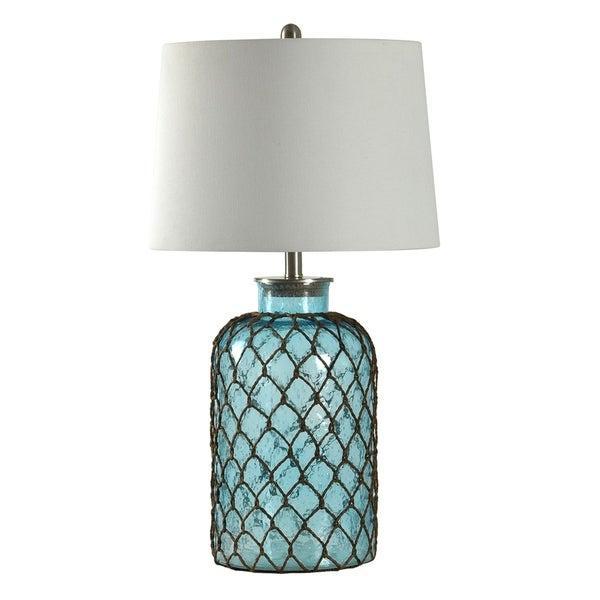 StyleCraft Montego Bay Blue Seeded Glass Table Lamp - Off-white Hardback Fabric Shade