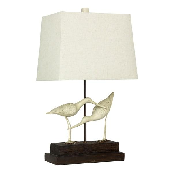 StyleCraft Sandpiper Black and White Table Lamp - White Hardback Fabric Shade