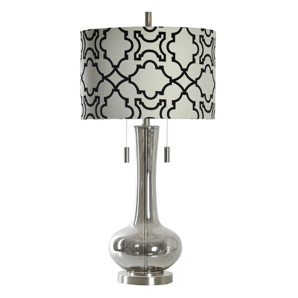 StyleCraft Plated Smoke Table Lamp - Designer Print Hardback Fabric Shade
