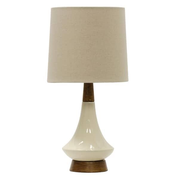 White Washed Wood Cream Ceramic Table Lamp Hardback Fabric Shade
