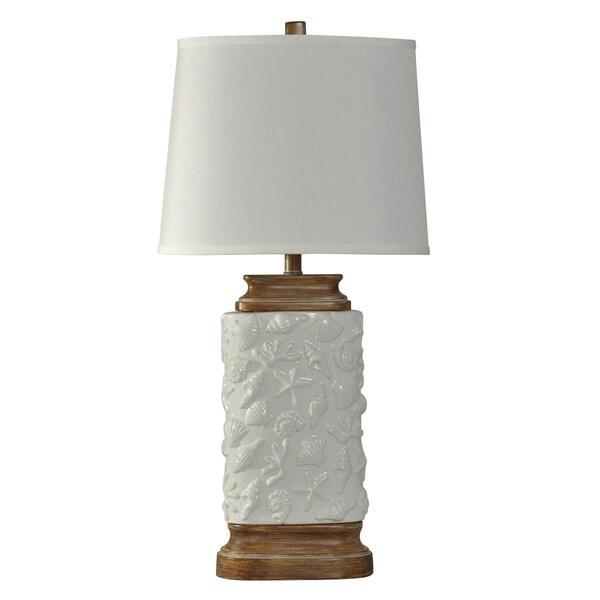Sandy Cove White Ceramic Table Lamp - White Hardback Fabric Shade