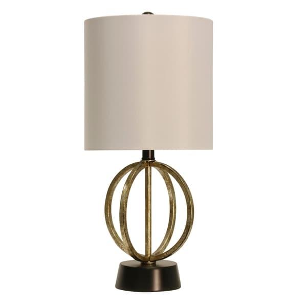 StyleCraft Laslo Gold and Satin Black Table Lamp - White Hardback Fabric Shade