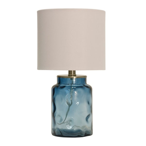 Blue Table Lamp - White Hardback Fabric Shade