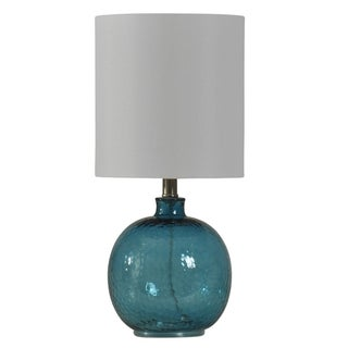 Cerulean Blue Table Lamp White Hardback Fabric Shade