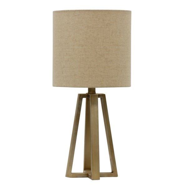 StyleCraft Antique Silver Table Lamp - Beige Hardback Fabric Shade