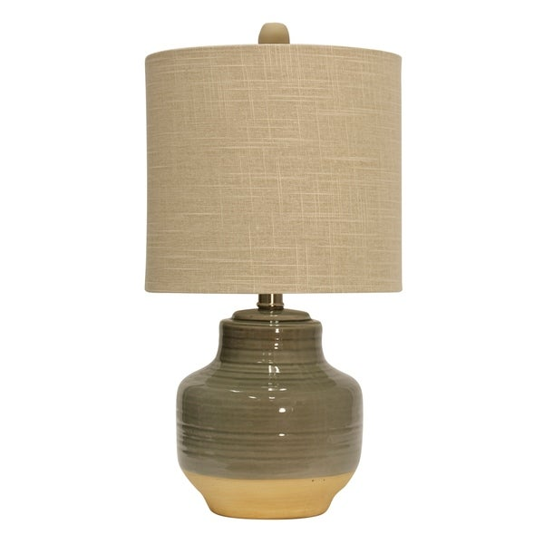 StyleCraft Prova Grey Ceramic Table Lamp - Beige Hardback Fabric Shade