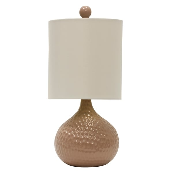 Pink Ceramic Table Lamp - White Hardback Fabric Shade